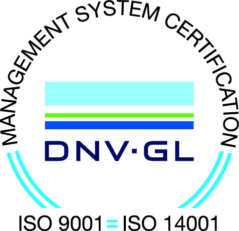 Company with environmental system certified by DNV ISO 14001